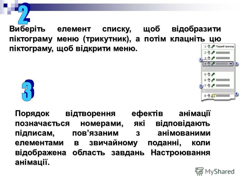 Виберіть элемент списку, щоб відобразити піктограму меню (трикутник), а потім клацніть цю піктограму, щоб відкрити меню. Порядок відтворення эффектів анімації позначається номерами, які відповідають підписам, повязаним з анімованими элементами в звич