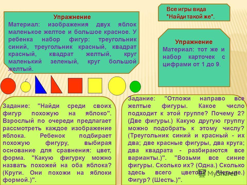 Упражнение Материал: изображения двух яблок маленькое желтое и большое красное. У ребенка набор фигур: треугольник синий, треугольник красный, квадрат красный, квадрат желтый, круг маленький зеленый, круг большой желтый. Задание: