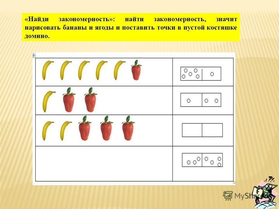 «Найди закономерность»: найти закономерность, значит нарисовать бананы и ягоды и поставить точки в пустой костяшке домино.