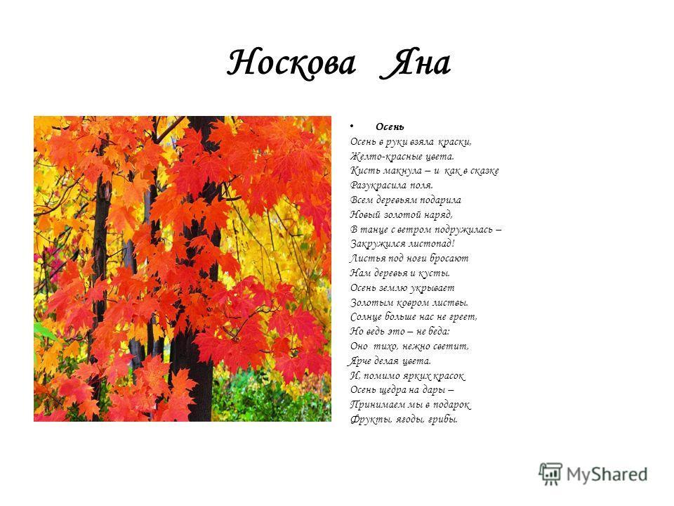 Носкова Яна Осень Осень в руки взяла краски, Желто-красные цвета. Кисть макнула – и как в сказке Разукрасила поля. Всем деревьям подарила Новый золотой наряд, В танце с ветром подружилась – Закружился листопад! Листья под ноги бросают Нам деревья и к