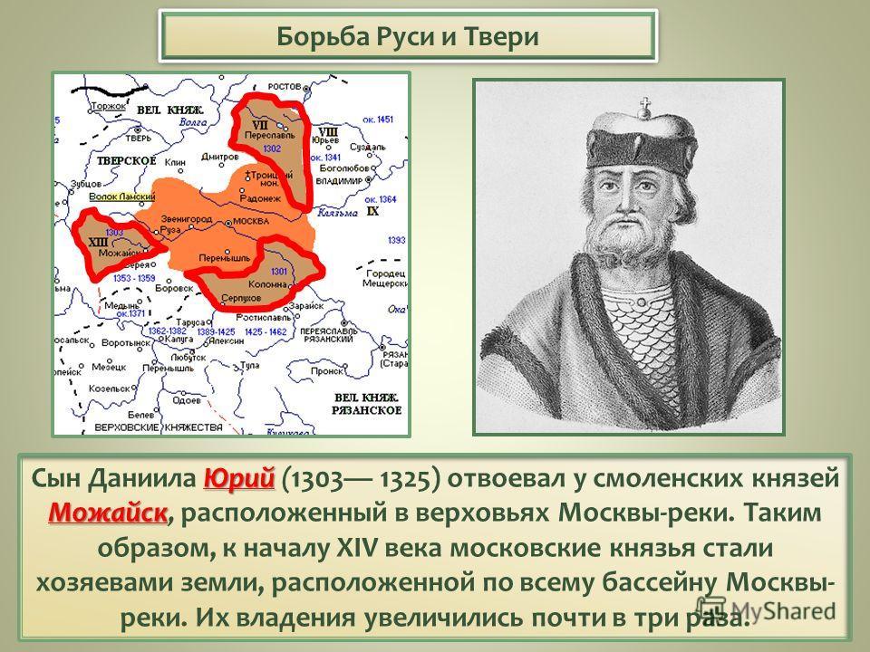 Борьба Руси и Твери Юрий Можайск Сын Даниила Юрий (1303 1325) отвоевал у смоленских князей Можайск, расположенный в верховьях Москвы-реки. Таким образом, к началу XIV века московские князья стали хозяевами земли, расположенной по всему бассейну Москв