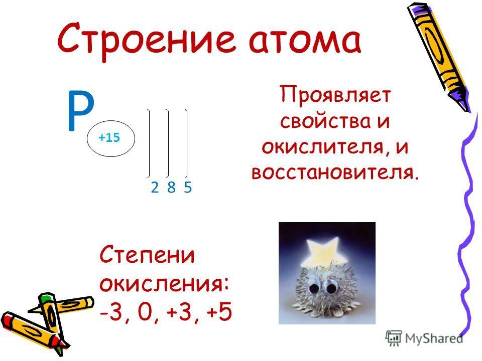 Р 2 8 5 +15 Проявляет свойства и окислителя, и восстановителя. Степени окисления: -3, 0, +3, +5 Строение атома