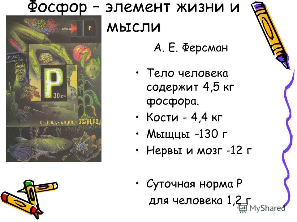 Фосфор – элемент жизни и мысли А. Е. Ферсман Тело человека содержит 4,5 кг фосфора. Кости - 4,4 кг Мыщцы -130 г Нервы и мозг -12 г Суточная норма Р для человека 1,2 г