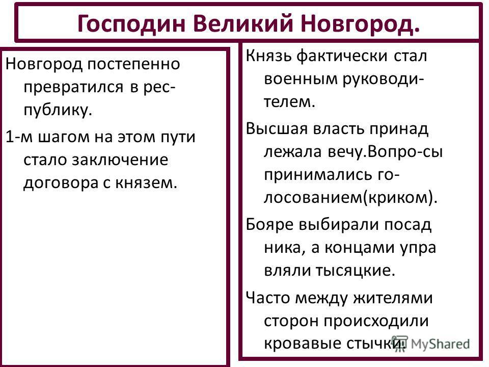 Новгород постепенно превратился в республику. 1-м шагом на этом пути стало заключение договора с князем. Господин Великий Новгород. Князь фактически стал военным руководителем. Высшая власть принадлежала вечу.Вопро-сы принимались голосованием(криком)