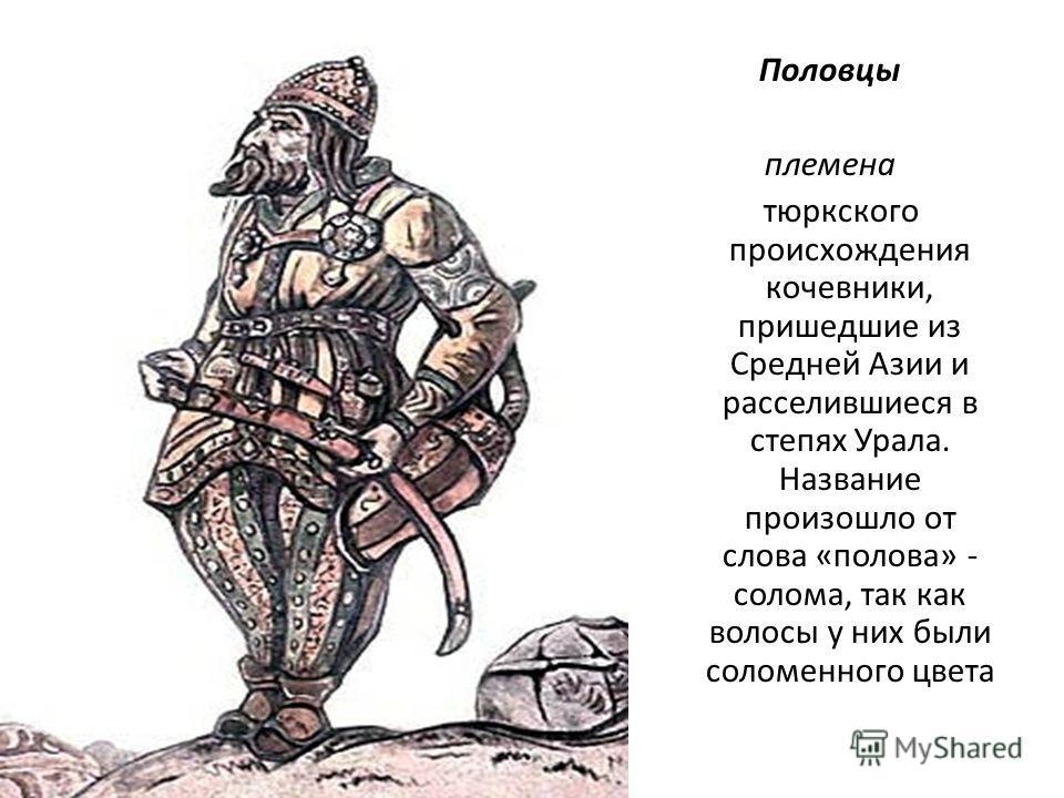 Половцы племена тюркского происхождения кочевники, пришедшие из Средней Азии и расселившиеся в степях Урала. Название произошло от слова «полова» - солома, так как волосы у них были соломенного цвета