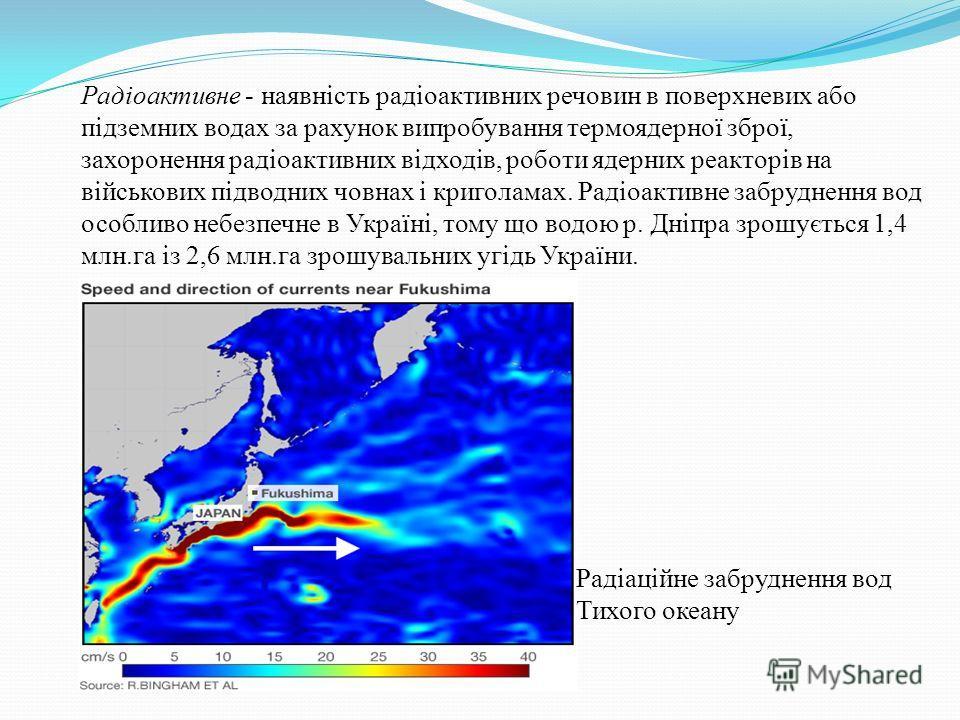 Радіоактивне - наявність радіоактивних речовин в поверхневих обо підземних водах за рахунок випробування термоядерної зброї, захоронения радіоактивних відходів, роботи ядерних реакторів на військових підводных човнах і криголамах. Радіоактивне забруд