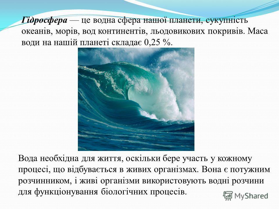 Гідросфера це водна сфера нашої планети, сукупність океанів, морів, вод континентів, льодовикових покривів. Маса води на нашій планеті складає 0,25 %. Вода необхідна для життя, оскільки бере участь у кожному процессі, що відбувається в живих організм