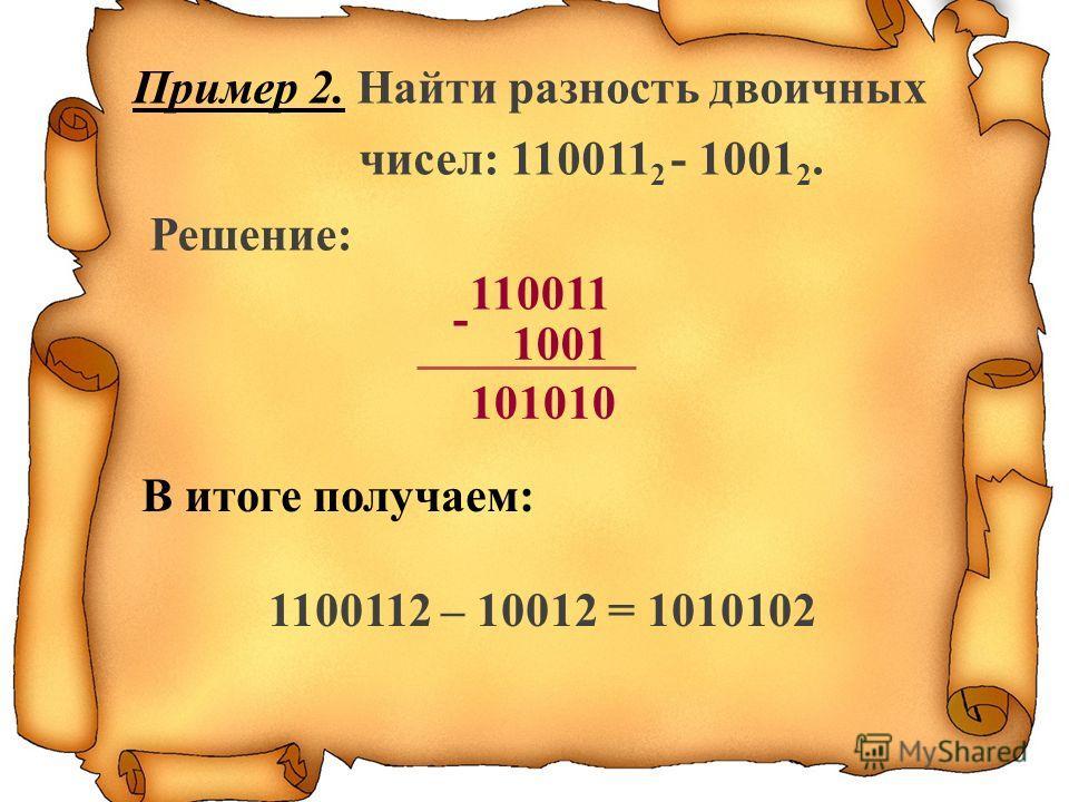 Пример 2. Найти разность двоичных чисел: 110011 2 - 1001 2. Решение: В итоге получаем: 1100112 – 10012 = 1010102 - 110011 101010 1001