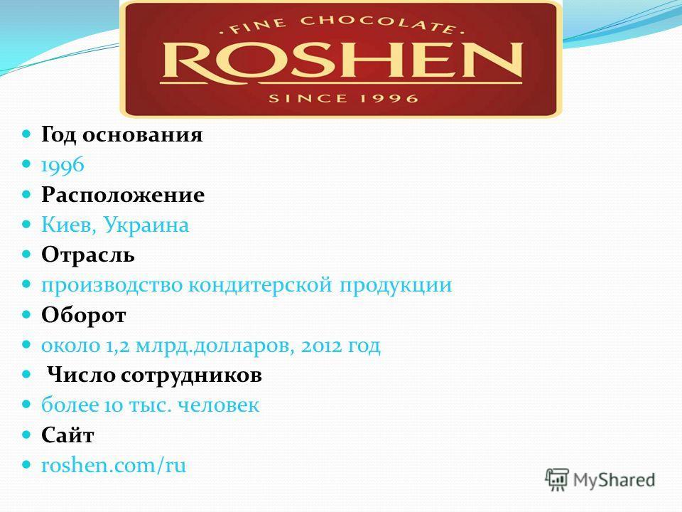Год основания 1996 Расположение Киев, Украина Отрасль производство кондитерской продукции Оборот около 1,2 млрд.долларов, 2012 год Число сотрудников более 10 тыс. человек Сайт roshen.com/ru
