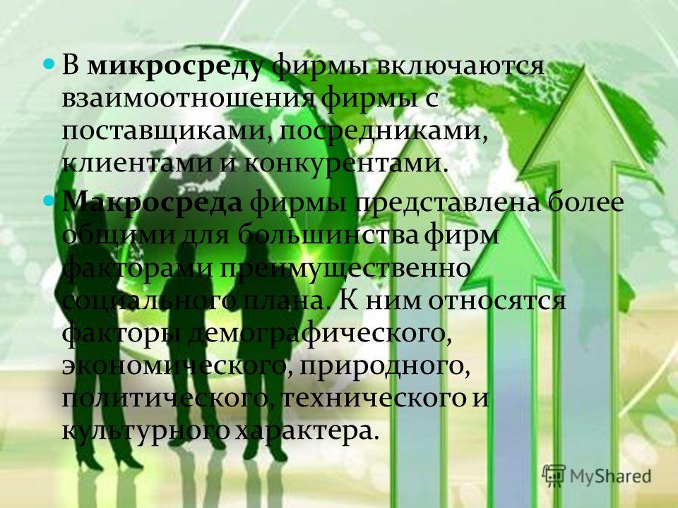 В микросреду фирмы включаются взаимоотношения фирмы с поставщиками, посредниками, клиентами и конкурентами. Макросреда фирмы представлена более общими для большинства фирм факторами преимущественно социального плана. К ним относятся факторы демографи
