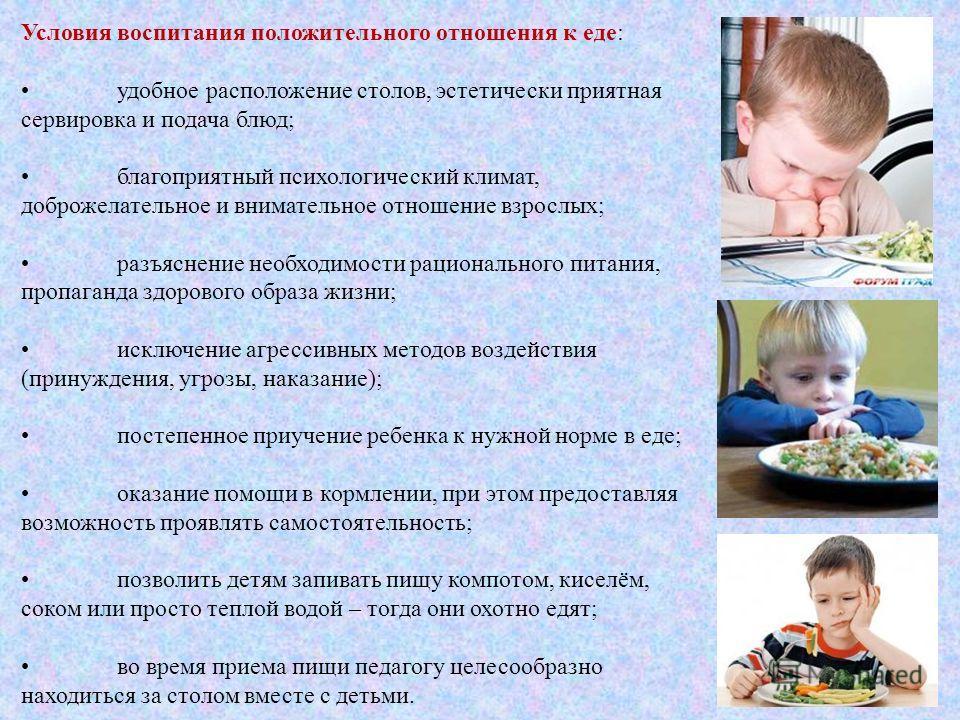 Условия воспитания положительного отношения к еде: удобное расположение столов, эстетически приятная сервировка и подача блюд; благоприятный психологический климат, доброжелательное и внимательное отношение взрослых; разъяснение необходимости рациона