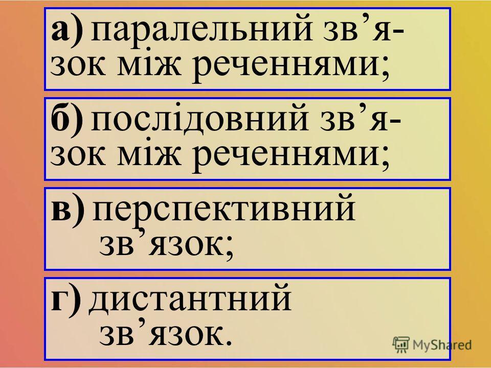а) паралельний звя- сок між реченнями; б) послідовний звя- сок між реченнями; в) перспективный звясок; г) дистантный звясок.