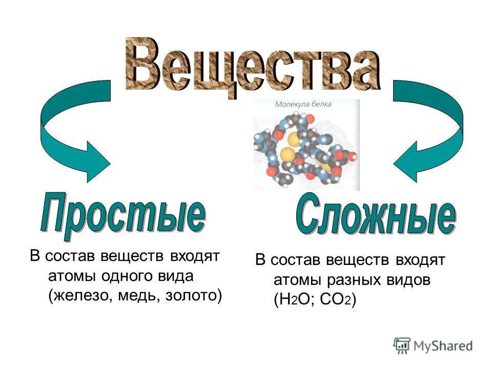 В состав веществ входят атомы одного вида (железо, медь, золото) В состав веществ входят атомы разных видов (Н 2 О; СО 2 )