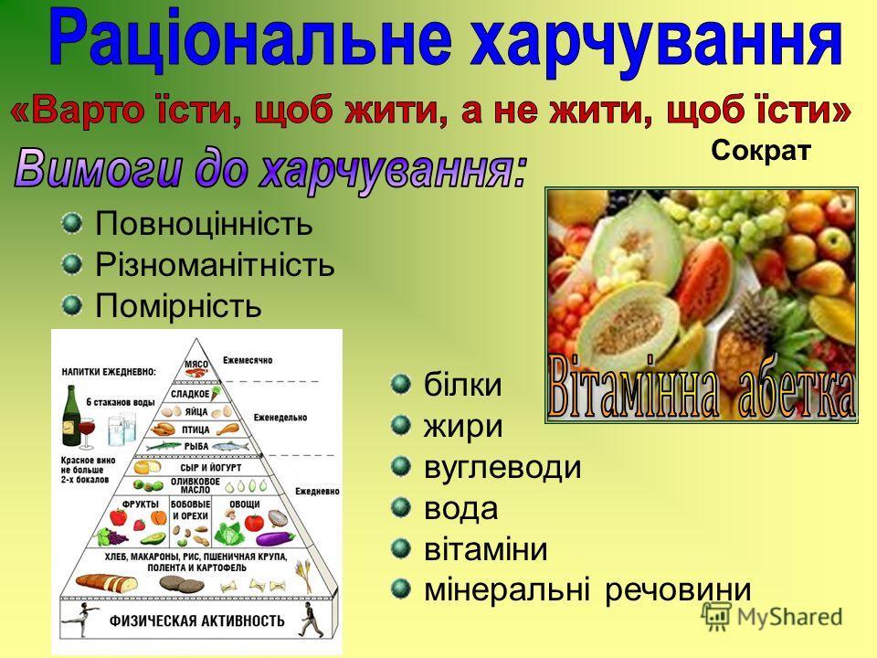 Повноцінність Різноманітність Помірність білки жири вуглеводи вода вітаміни мінеральні речовини