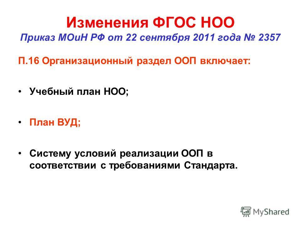 Изменения ФГОС НОО Приказ МОиН РФ от 22 сентября 2011 года 2357 П.16 Организационный раздел ООП включает: Учебный план НОО; План ВУД; Систему условий реализации ООП в соответствии с требованиями Стандарта.