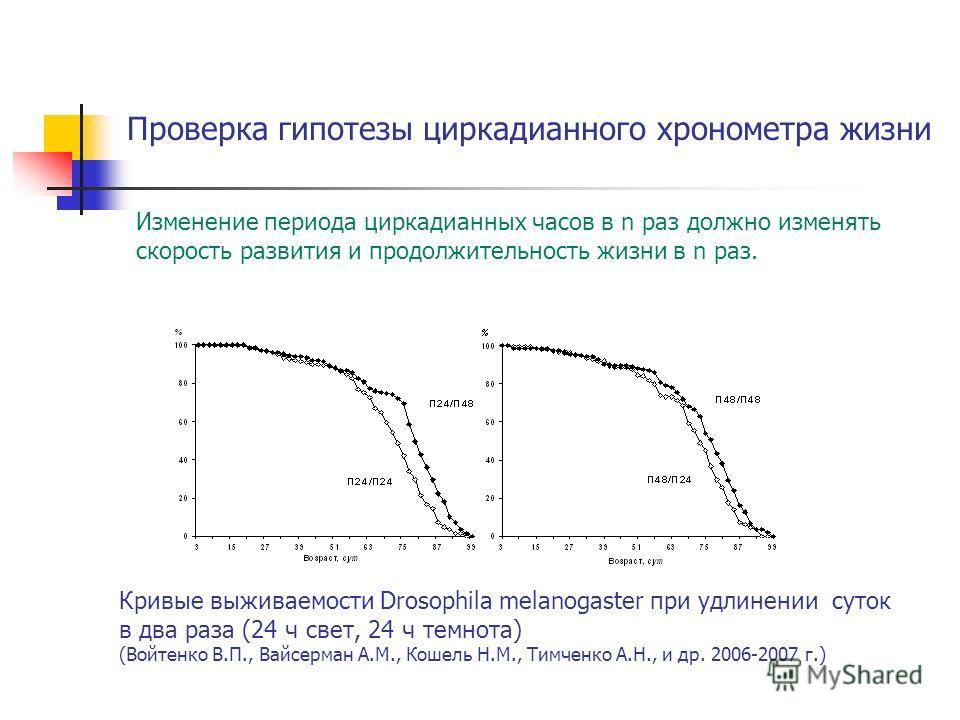 Кривые выживаемости Drosophila melanogaster при удлинении суток в два раза (24 ч свет, 24 ч темнота) (Войтенко В.П., Вайсерман А.М., Кошель Н.М., Тимченко А.Н., и др. 2006-2007 г.) Проверка гипотезы циркадианного хронометра жизни Изменение периода ци