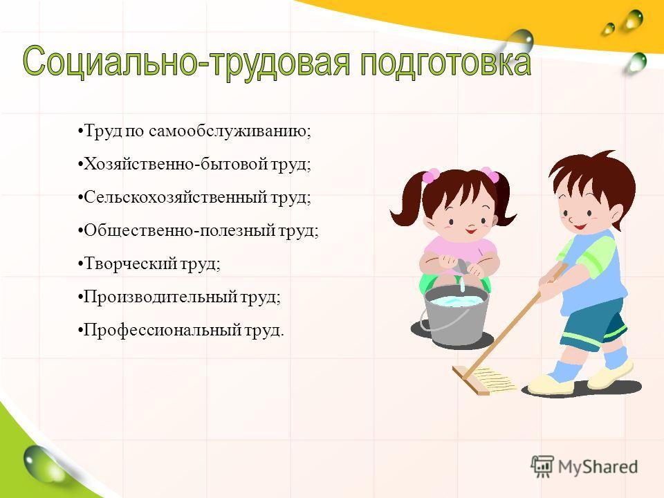 Труд по самообслуживанию; Хозяйственно-бытовой труд; Сельскохозяйственный труд; Общественно-полезный труд; Творческий труд; Производительный труд; Профессиональный труд.