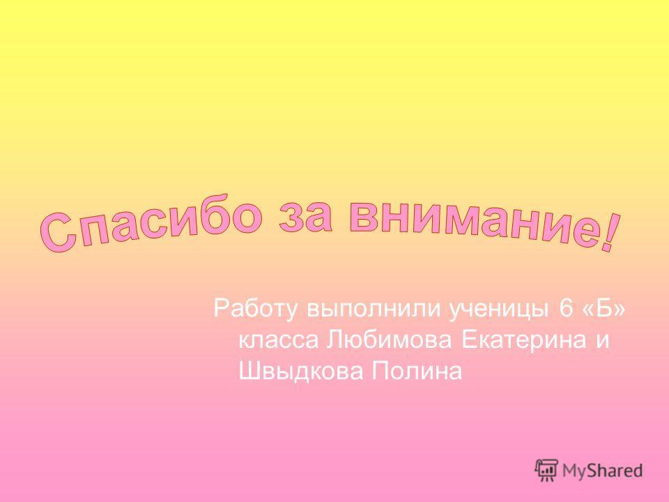 Работу выполнили ученицы 6 «Б» класса Любимова Екатерина и Швыдкова Полина