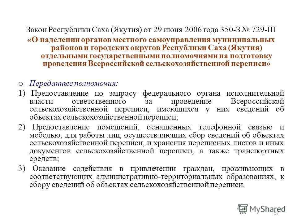Закон Республики Саха (Якутия) от 29 июня 2006 года 350-З 729-III «О наделении органов местного самоуправления муниципальных районов и городских округов Республики Саха (Якутия) отдельными государственными полномочиями на подготовку проведения Всерос