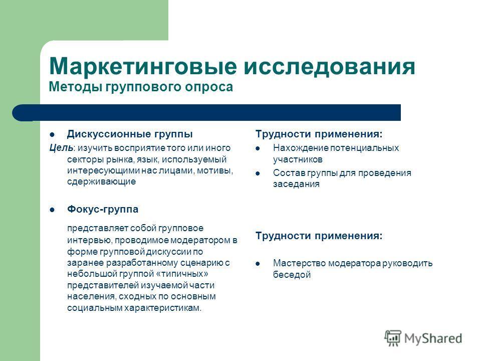 Маркетинговые исследования Методы группового опроса Дискуссионные группы Цель: изучить восприятие того или иного секторы рынка, язык, используемый интересующими нас лицами, мотивы, сдерживающие Трудности применения: Нахождение потенциальных участнико
