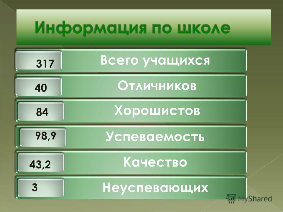 Всего учащихся Отличников Хорошистов Успеваемость Качество Неуспевающих 317 98,9 3 40 84 43,2