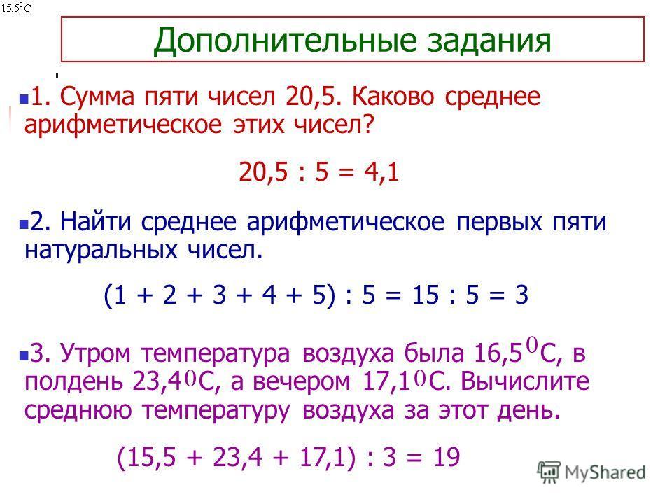 Дополнительные задания 1. Сумма пяти чисел 20,5. Каково среднее арифметическое этих чисел? 2. Найти среднее арифметическое первых пяти натуральных чисел. 3. Утром температура воздуха была 16,5 С, в полдень 23,4 С, а вечером 17,1 С. Вычислите среднюю