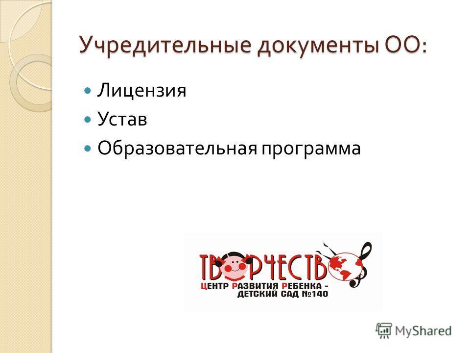 Учредительные документы ОО : Лицензия Устав Образовательная программа