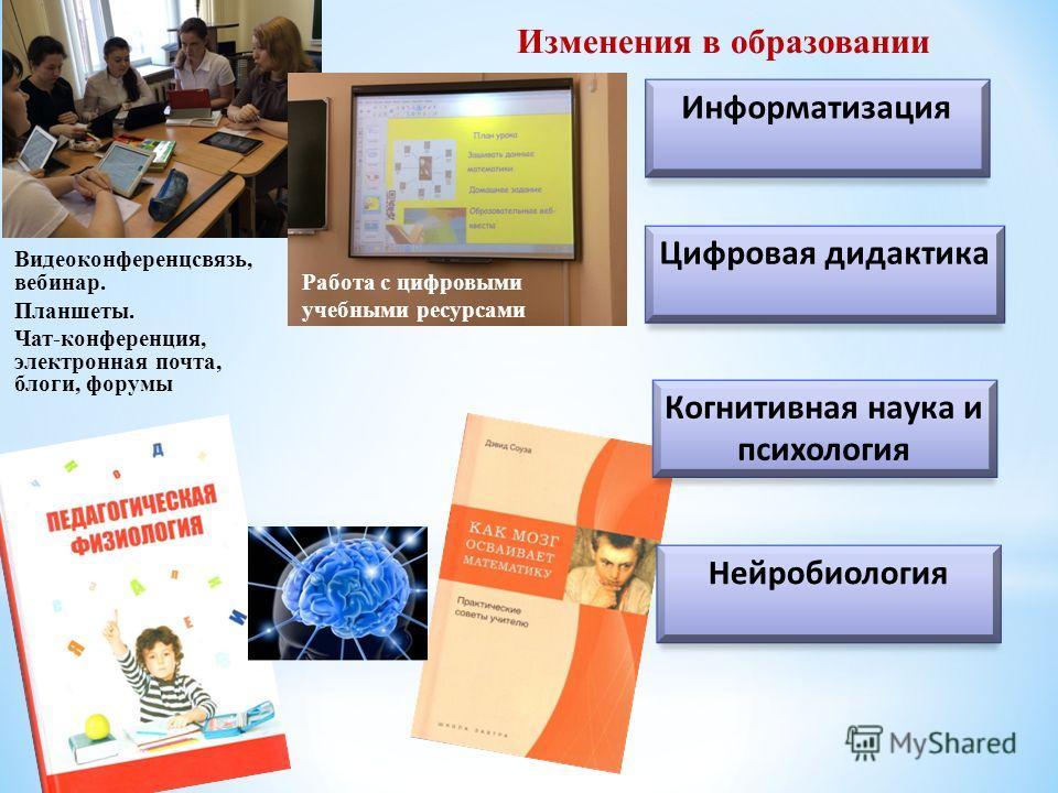 Информатизация Цифровая дидактика Изменения в образовании Когнитивная наука и психология Нейробиология Видеоконференцсвязь, вебинар. Планшеты. Чат-конференция, электронная почта, блоги, форумы Работа с цифровыми учебными ресурсами
