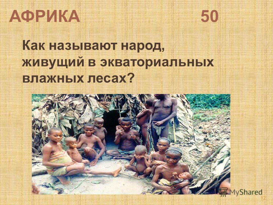 АФРИКА 50 Как называют народ, живущий в экваториальных влажных лесах? 12