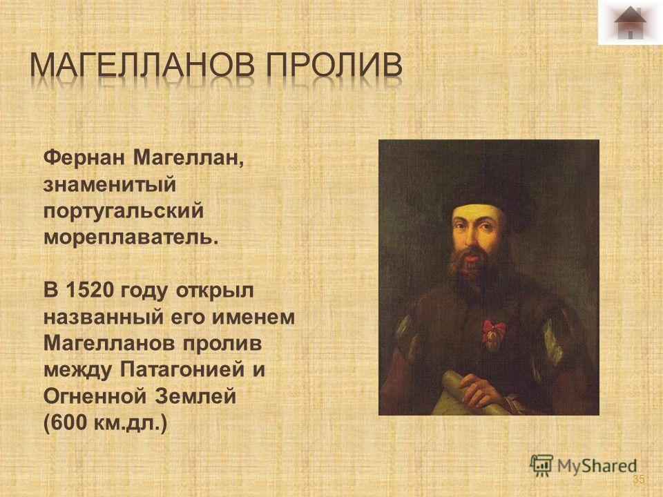 Фернан Магеллан, знаменитый португальский мореплаватель. В 1520 году открыл названный его именем Магелланов пролив между Патагонией и Огненной Землей (600 км.дл.) 35