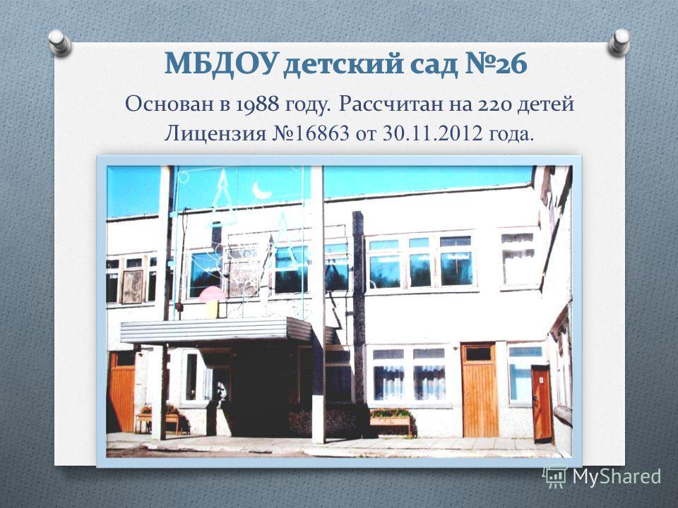 Основан в 1988 году. Рассчитан на 220 детей Лицензия 16863 от 30.11.2012 года.