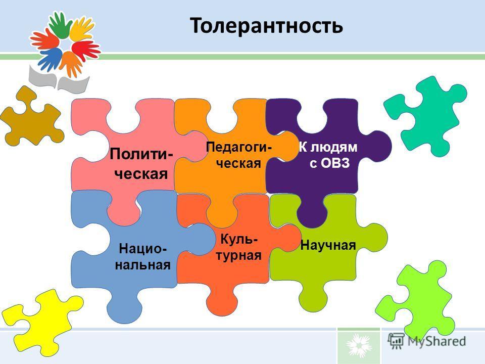 Полити- ческая Куль- турная Педагоги- ческая Научная Нацио- нальная К людям с ОВЗ Толерантность