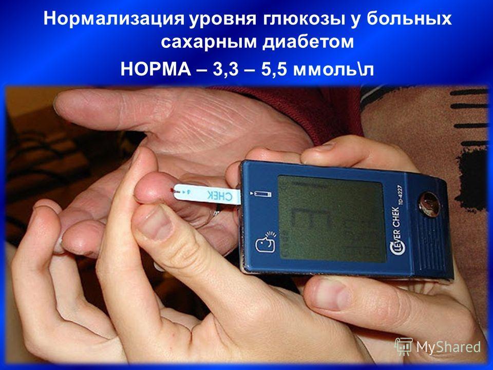 Нормализация уровня глюкозы у больных сахарным диабетом НОРМА – 3,3 – 5,5 ммоль\л