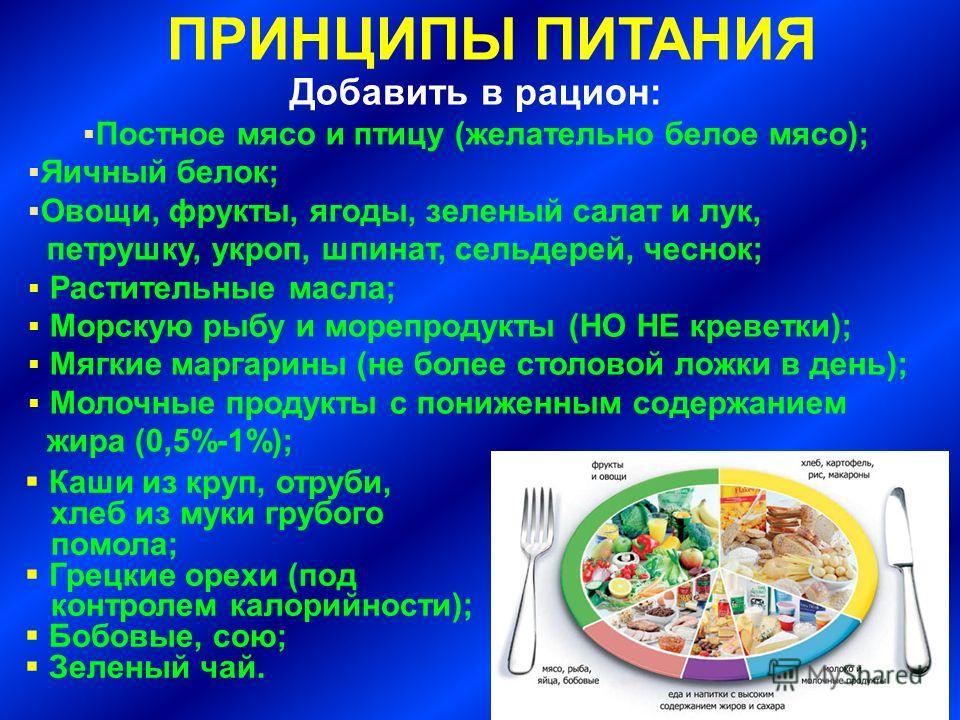 ПРИНЦИПЫ ПИТАНИЯ Добавить в рацион: Постное мясо и птицу (желательно белое мясо); Яичный белок; Овощи, фрукты, ягоды, зеленый салат и лук, петрушку, укроп, шпинат, сельдерей, чеснок; Растительные масла; Морскую рыбу и морепродукты (НО НЕ креветки); М