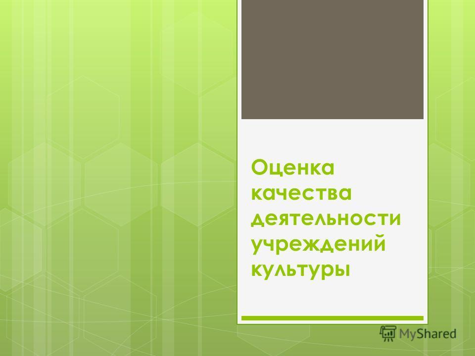 Оценка качества деятельности учреждений культуры