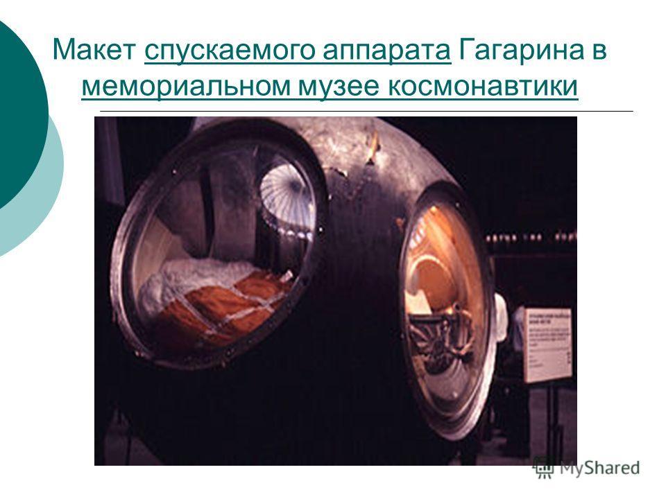 Макет спускаемого аппарата Гагарина в мемориальном музее космонавтики спускаемого аппарата мемориальном музее космонавтики