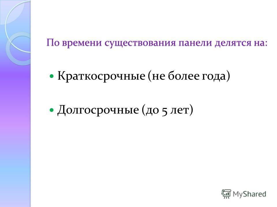 По времени существования панели делятся на: Краткосрочные (не более года) Долгосрочные (до 5 лет)