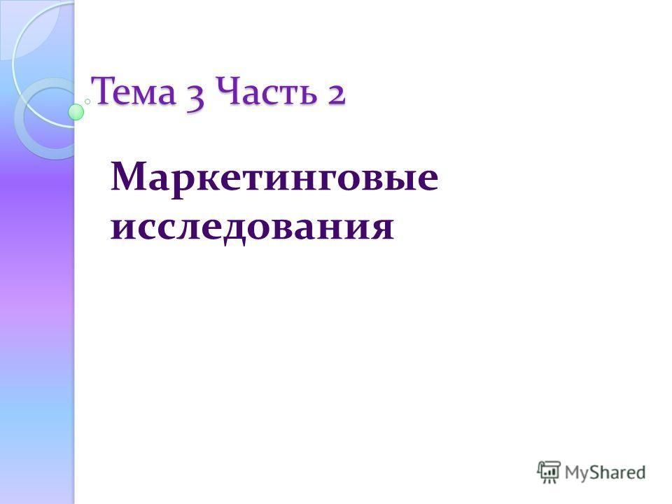 Тема 3 Часть 2 Маркетинговые исследования