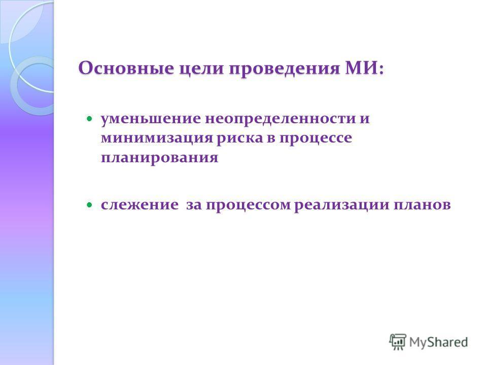 Основные цели проведения МИ: уменьшение неопределенности и минимизация риска в процессе планирования слежение за процессом реализации планов