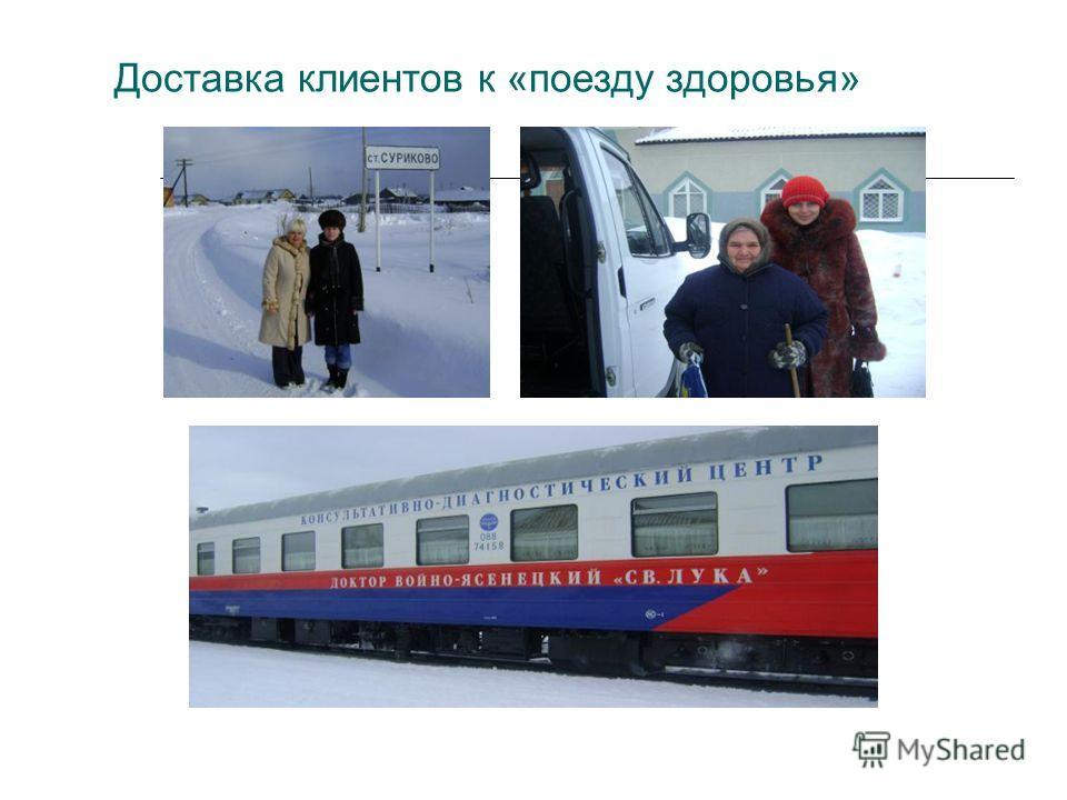 Доставка клиентов к «поезду здоровья»