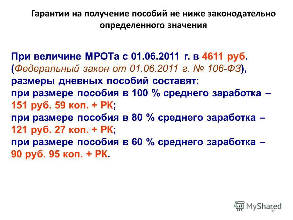 Гарантии на получение пособий не ниже законодательно определенного значения 24 При величине МРОТа с 01.06.2011 г. в 4611 руб. (Федеральный закон от 01.06.2011 г. 106-ФЗ), размеры дневных пособий составят: при размере пособия в 100 % среднего заработк