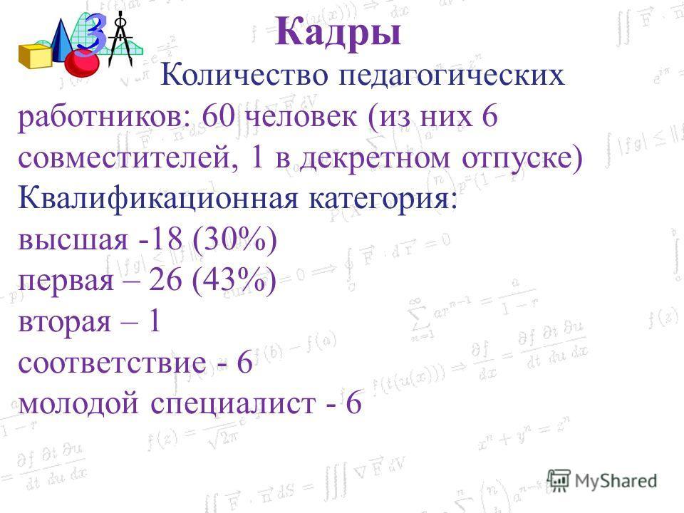 Количество педагогических работников: 60 человек (из них 6 совместителей, 1 в декретном отпуске) Квалификационная категория: высшая -18 (30%) первая – 26 (43%) вторая – 1 соответствие - 6 молодой специалист - 6 Кадры