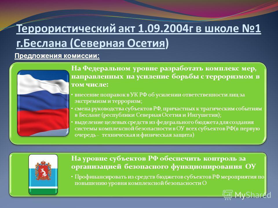 Предложения комиссии: Террористический акт 1.09.2004 г в школе 1 г.Беслана (Северная Осетия) На Федеральном уровне разработать комплекс мер, направленных на усиление борьбы с терроризмом в том числе: внесение поправок в УК РФ об усилении ответственно