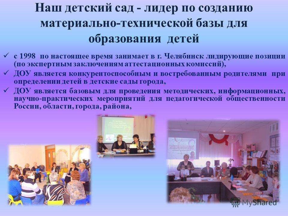 Наш детский сад - лидер по созданию материально-технической базы для образования детей с 1998 по настоящее время занимает в г. Челябинск лидирующие позиции (по экспертным заключениям аттестационных комиссий), ДОУ является конкурентоспособным и востре