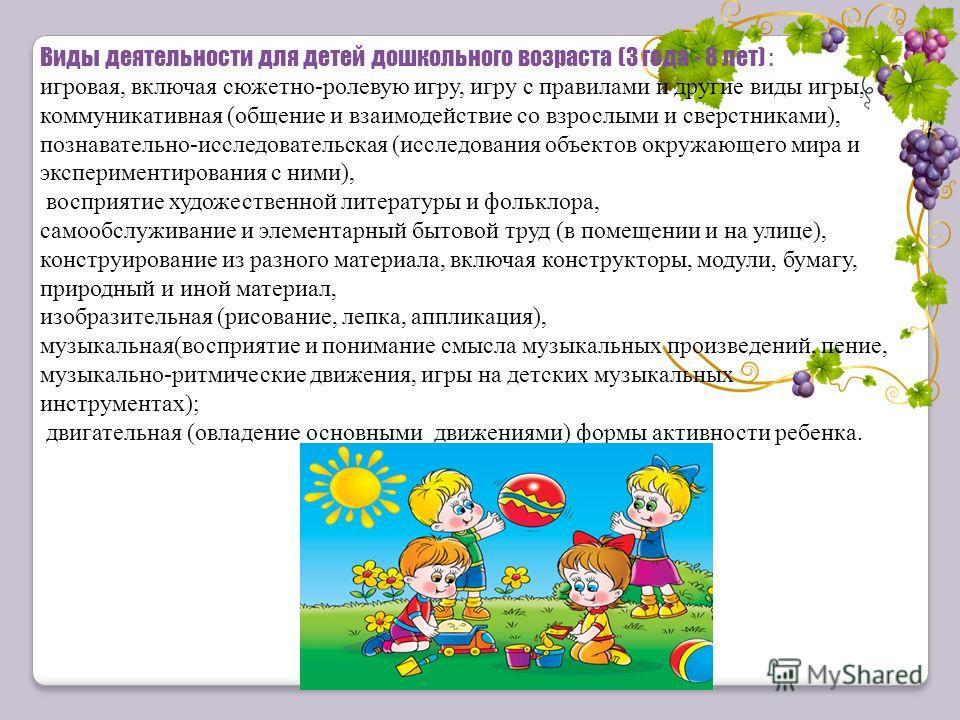 Виды деятельности для детей дошкольного возраста (3 года - 8 лет) : игровая, включая сюжетно-ролевую игру, игру с правилами и другие виды игры, коммуникативная (общение и взаимодействие со взрослыми и сверстниками), познавательно-исследовательская (и