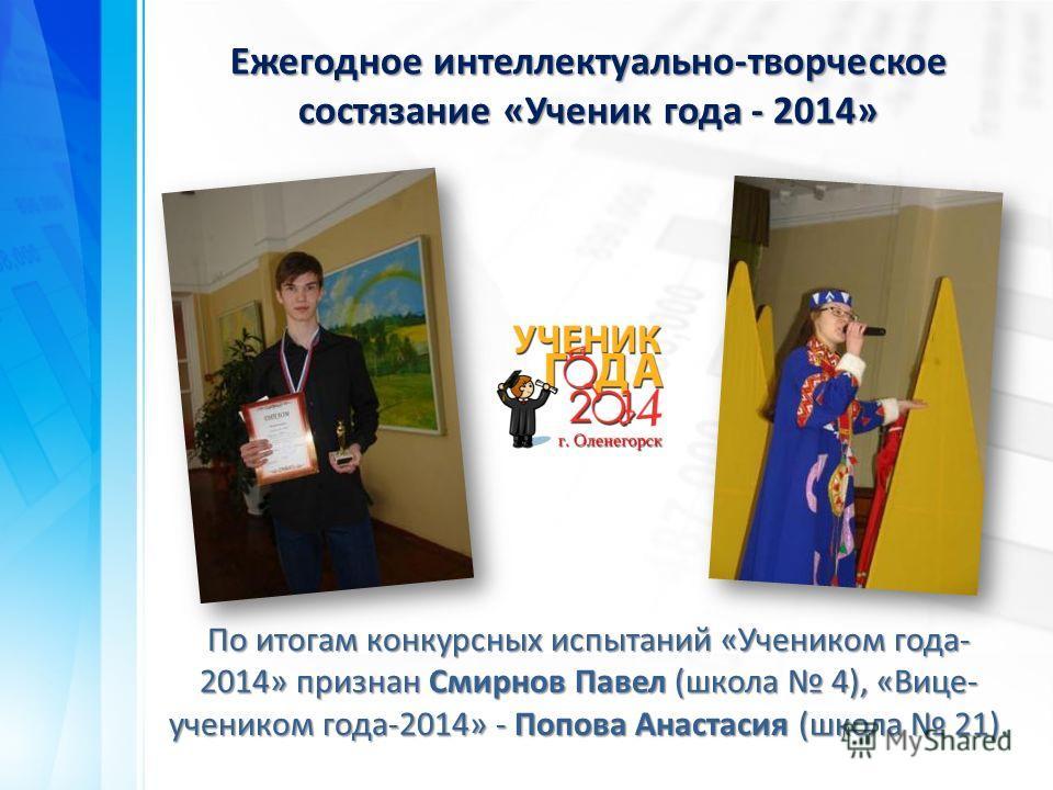 По итогам конкурсных испытаний «Учеником года- 2014» признан Смирнов Павел (школа 4), «Вице- учеником года-2014» - Попова Анастасия (школа 21). Ежегодное интеллектуально-творческое состязание «Ученик года - 2014»