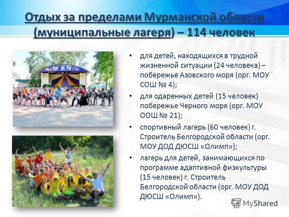 Отдых за пределами Мурманской области (муниципальные лагеря) – 114 человек для детей, находящихся в трудной жизненной ситуации (24 человека) – побережье Азовского моря (орг. МОУ СОШ 4); для одаренных детей (15 человек) побережье Черного моря (орг. МО