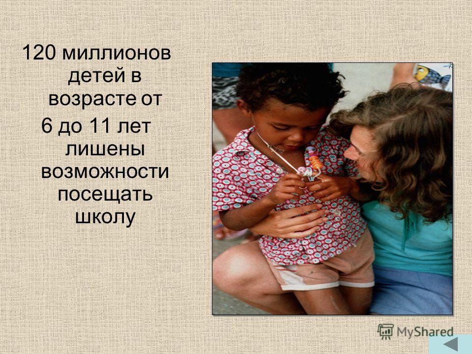 120 миллионов детей в возрасте от 6 до 11 лет лишены возможности посещать школу