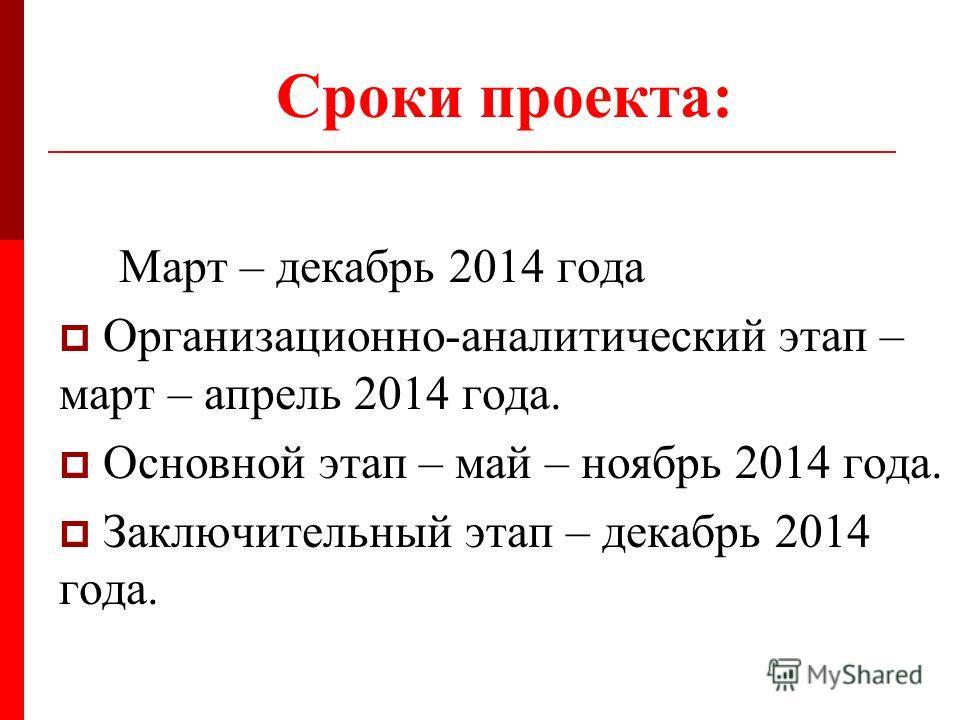 Сроки проекта: Март – декабрь 2014 года Организационно-аналитический этап – март – апрель 2014 года. Основной этап – май – ноябрь 2014 года. Заключительный этап – декабрь 2014 года.