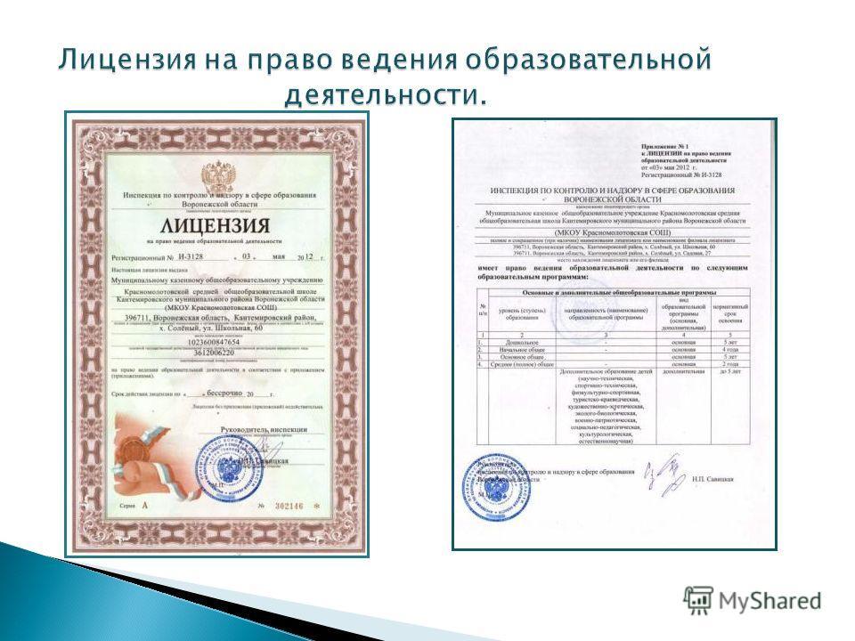 Лицензия на право ведения образовательной деятельности.
